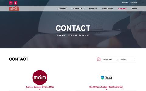 Screenshot of Contact Page moyacorea.com - CONTACT – MOYA - captured Oct. 1, 2018