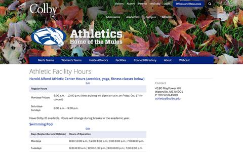 Screenshot of Hours Page colby.edu - Athletic Facility Hours · Athletics · Colby College - captured Nov. 1, 2014