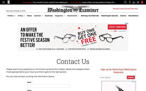 Screenshot of Contact Page washingtonexaminer.com - Contact Us - captured Oct. 12, 2019