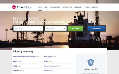 Screenshot of Home Page atlas4jobs.com - Search Engine for Energy & Marine jobs worldwide | Atlas4Jobs - captured Sept. 30, 2014