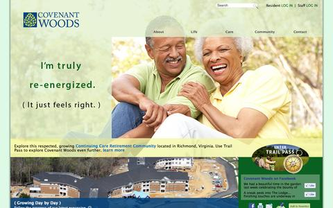 Screenshot of Home Page covenantwoods.com - Continuing Care Retirement Community Richmond | Covenant Woods - captured Sept. 30, 2014