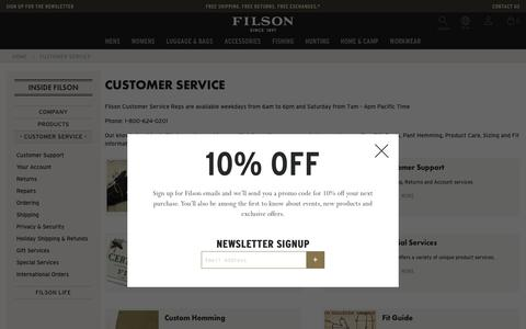 Screenshot of Support Page filson.com - Customer Service | Filson - captured Aug. 13, 2018