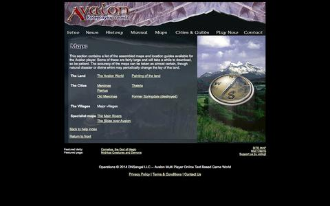 Screenshot of Maps & Directions Page avalon-rpg.com - Avalon - Online RPG - Maps of the land - captured Oct. 4, 2014