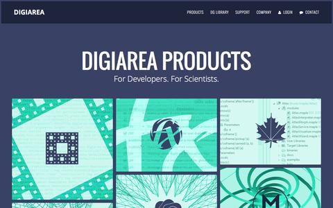 Screenshot of Products Page digi-area.com - Closure IDE, Closure FX Builder, Maple WWW, Maple IDE - DigiArea Products - captured Feb. 9, 2016
