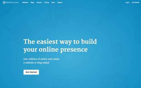 Screenshot of Home Page wordpress.com - WordPress.com: Create a free website or blog - captured Oct. 28, 2016