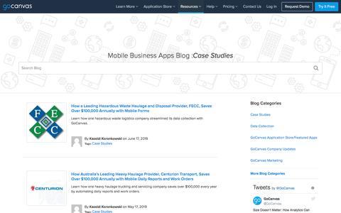 Screenshot of Case Studies Page gocanvas.com - (1) New Message! - captured July 31, 2019