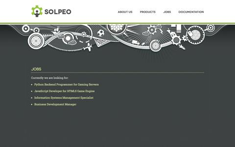 Screenshot of Jobs Page solpeo.com - Solpeo - isometric HTML5 engine and scalable backend - captured Sept. 19, 2014