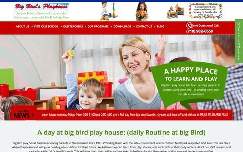 Screenshot of Home Page bigbirdsplayhouse.com - Day Care & Child Care Centers in Staten Island, NY – Big Bird's Playhouse - captured Sept. 12, 2015