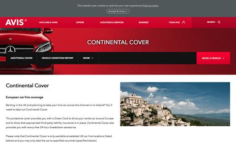 Screenshot of avis.co.uk - Continental Cover provides European car hire protection - captured July 16, 2017