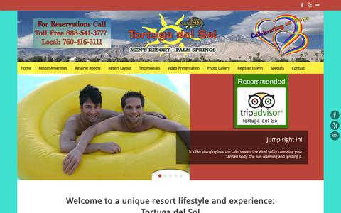 Screenshot of Home Page tortugadelsol.com - Tortuga del Sol – Gay Palm Springs Clothing Optional Resort - captured Oct. 30, 2018