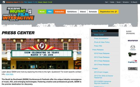 Screenshot of Press Page sxsw.com - Press Center | South by Southwest 2016 Music, Film and Interactive Festivals - Austin Texas - captured Aug. 2, 2015