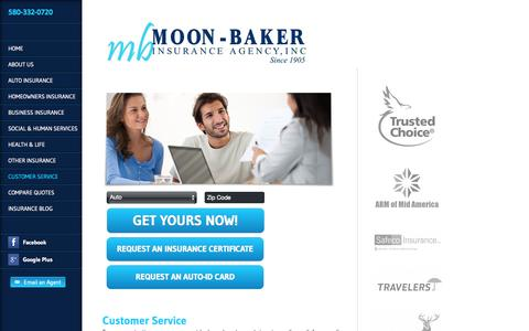 Screenshot of Support Page moonbaker.com - Customer Service | Moon Baker Agency Inc. - captured Oct. 7, 2014