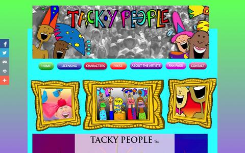 Screenshot of Home Page tackypeople.com - Tacky People - Graphics Licensing, Animation Concept, Product Development - captured Sept. 30, 2014