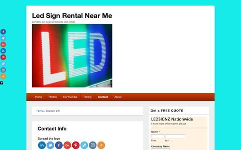 Screenshot of Contact Page ledsignz.com - Contact Info - Led Sign Rental Near Me - captured Nov. 17, 2018