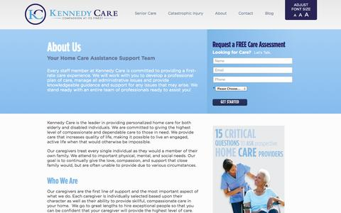 Screenshot of About Page kennedycare.com - Kennedy Care | Home Care Assistance | Professional Home Health Care| Catastrophic Injury - captured Sept. 30, 2014