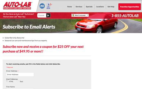 Screenshot of Signup Page autolabusa.com - Subscribe to Email Alerts - Auto-Lab Complete Car Care Centers - captured Feb. 6, 2016