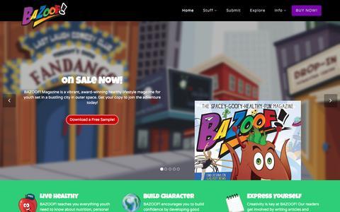 Screenshot of Home Page bazoof.com - BAZOOF! Magazine | Play Read Write Draw Create Explore - captured April 26, 2016