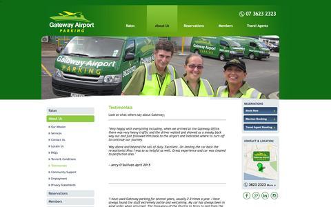 Screenshot of Testimonials Page gatewayairportparking.com.au - Customer Testimonials - Gateway Airport Parking - captured July 11, 2016