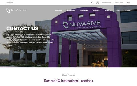 Screenshot of Contact Page nuvasive.com - Contact | NuVasive - captured April 4, 2017