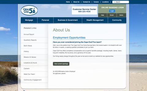 Screenshot of Jobs Page capecodfive.com - Employment Opportunities - The Cape Cod Five Cents Savings Bank (Orleans, MA) - captured Dec. 2, 2016