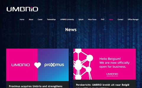 Screenshot of Press Page umbrio.com - News - UMBRiO - captured Sept. 24, 2018