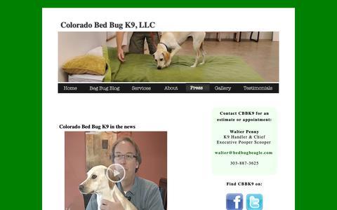 Screenshot of Press Page bedbugbeagle.com - Press | Colorado Bed Bug K9 - captured Sept. 28, 2018