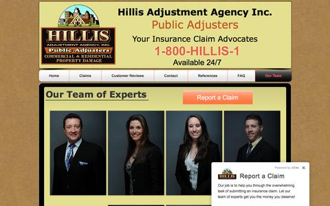 Screenshot of Team Page hillis1.com - Hillis Adjustment Agency-Our Team - captured Nov. 8, 2016