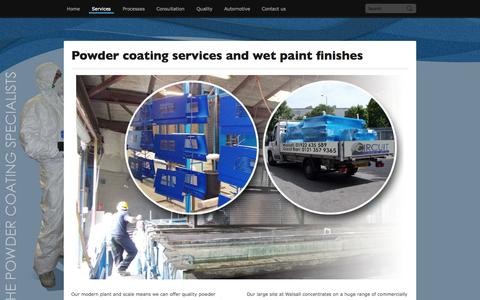Screenshot of Services Page circuit-coating.co.uk - Powder Coating Services Walsall and Great Barr Walsall - captured Oct. 2, 2014