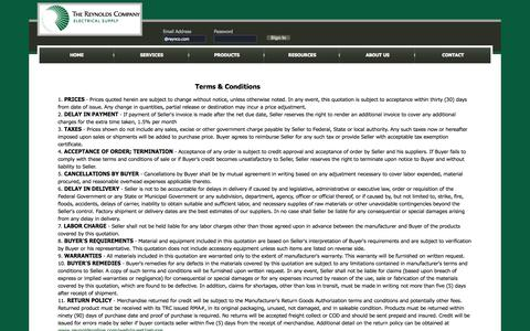 Screenshot of Terms Page reynoldsonline.com - The Reynolds Company - Electrical Distributor | Terms & Conditions - captured Oct. 6, 2014