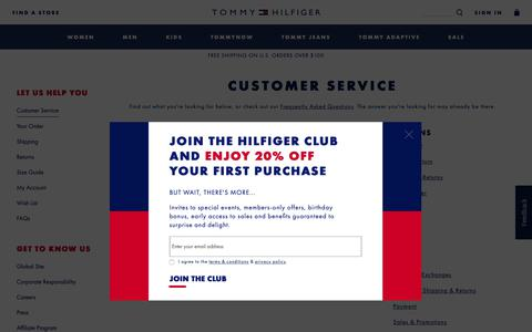 Screenshot of Contact Page Support Page tommy.com - CONTACT | Tommy Hilfiger USA - captured Oct. 18, 2018