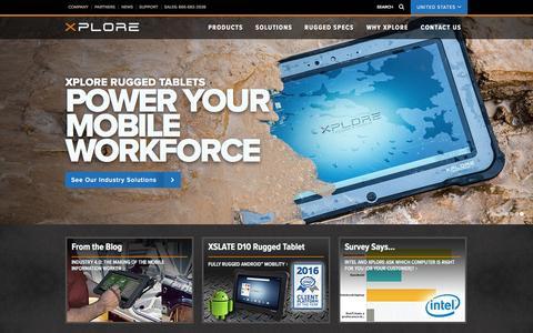 Screenshot of Home Page xploretech.com - Xplore Technologies Rugged PCs for Extreme Work Conditions - captured Nov. 29, 2016