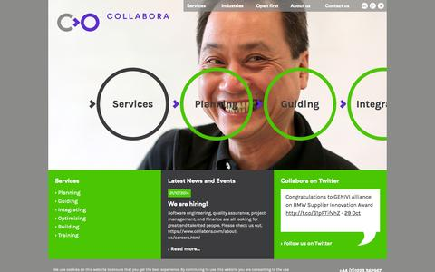 Screenshot of Services Page collabora.com - Services - captured Nov. 2, 2014