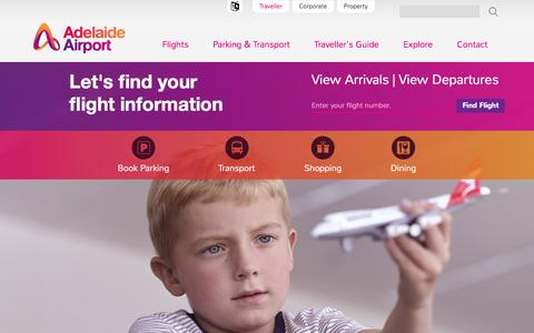 Screenshot of Home Page adelaideairport.com.au - Adelaide Airport | Flights, Parking, Transport, Maps and Shops - captured Feb. 5, 2016