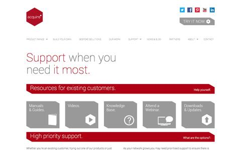 Screenshot of Support Page acquiredigital.com - Support: Get to grips with your new products - Acquire Digital: The Digital Signage Experts - captured Dec. 23, 2015