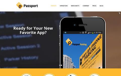 Screenshot of Home Page passportparking.com - PassportParking | Cloud-based Parking Solutions. - captured July 11, 2014