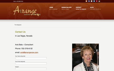 Screenshot of Contact Page arrangenow.com - Contact –  Arrange Interior Design Las Vegas, NV – St. George, UT - captured Oct. 4, 2014