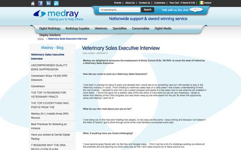 Screenshot of Blog medray.ie - Veterinary Sales Executive Interview :: Medray, Dublin, Ireland - captured Sept. 30, 2014