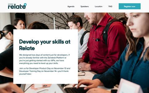 Screenshot of Developers Page zendeskrelate.com - Developers – Zendesk Relate Flagship Events 2018 - captured Nov. 3, 2018