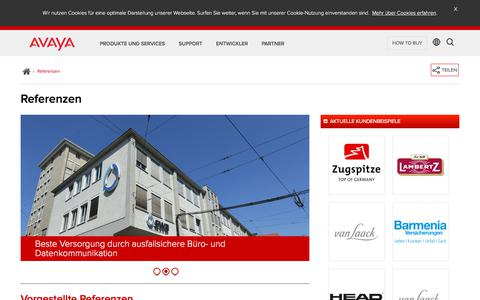 Screenshot of Case Studies Page avaya.com - Referenzen - Große Unternehmen, Mittelstand Case Studies - Avaya DE - captured March 1, 2018