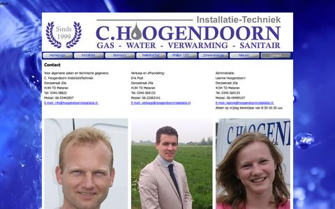 Screenshot of Contact Page hoogendoorninstallatie.nl - Contact - Hoogendoorninstallatie - captured Sept. 30, 2014