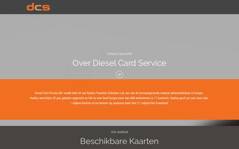 Screenshot of Home Page dieselcardservice.com - Diesel Card Service BV. - captured Sept. 30, 2014