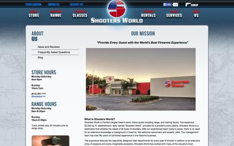 Screenshot of About Page shootersworld.com - Public Shooting Ranges in FL | Shooting Experience at Shooters World - captured Oct. 26, 2014