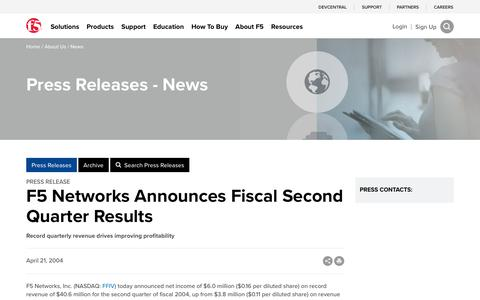Screenshot of Press Page f5.com - F5 Networks Announces Fiscal Second Quarter Results - captured March 8, 2018