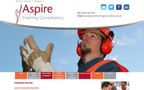 Screenshot of Support Page aspiretrainingconsultancy.co.uk - Customer Service Training | NEBOSH & IOSH Training - captured Oct. 4, 2014