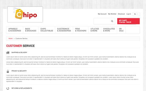 Screenshot of Support Page chipo.in - Customer Service - captured Sept. 29, 2014