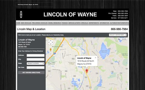 Screenshot of Maps & Directions Page lincolnofwayne.com - NEW JERSEY Lincoln Dealer | Map, Address, Location, Directions | Lincoln of Wayne - captured Sept. 30, 2014