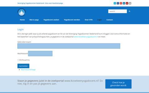 Screenshot of Login Page yoganederland.nl - Login Vereniging Yogadocenten Nederland - captured June 28, 2016