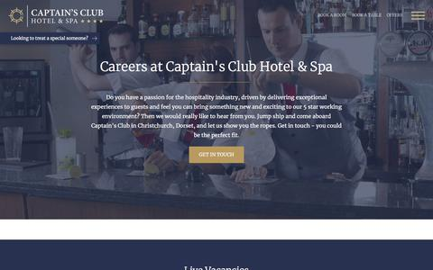 Screenshot of Jobs Page captainsclubhotel.com - Careers at Captain's Club | Captain's Club Hotel & Spa - captured July 15, 2018