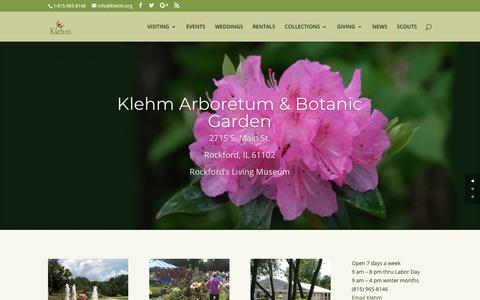 Screenshot of Home Page klehm.org - Klehm Arboretum & Botanic Garden | Rockford's Living Museum - captured Nov. 15, 2018