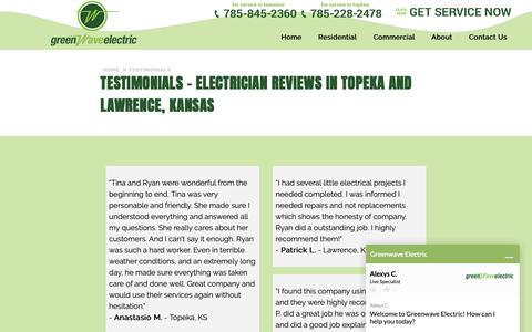 Screenshot of Testimonials Page greenwaveelectric.com - Electrical Service Reviews & Testimonials | Topeka and Lawrence, KS | Greenwave Electric - captured Sept. 30, 2018
